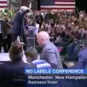 """Hey, Who's That in the Front Row of Trump's N.H. """"No Labels"""" Speech?"""